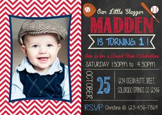 Baseball Birthday Invitation- 4x6 or 5x7 printable / digital file by PinknPurplePress on Etsy https://www.etsy.com/listing/205764243/baseball-birthday-invitation-4x6-or-5x7