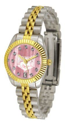 Arkansas Razorbacks Executive Ladies Watch with Mother of Pearl Dial by SunTime. $179.54. Stainless Steel Case. 23kt Gold Plate Bezel. Calendar Date Function. Safety Clasp. Two-Tone Solid Stainless Steel Band. The ultimate Arkansas Razorbacks fan's statement, our Executive timepiece offers men and women a classic, business-appropriate look. Features a 23KT gold-plated bezel, stainless steel case and date function. Secures to your wrist with a two-tone solid stain...