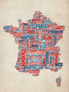 Typography Text Map of France Map France City, France Map, France Info, French Teaching Resources, Teaching French, Teaching Ideas, French Colors, French Classroom, Reims