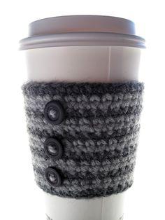 coffee sleeve , button , buttons , grey , black , crochet , crocheted , yarn