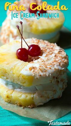 Piña coladas are more fun when transformed into ice cream sandwiches! This tropical frozen treat is made with coconut rum, coconut ice cream, toasted coconut flakes and topped with the sweetest maraschino cherries. Bite into paradise! Ice Cream Treats, Ice Cream Desserts, Frozen Desserts, Summer Desserts, Ice Cream Recipes, Frozen Treats, Party Desserts, Summer Food, Summer Recipes