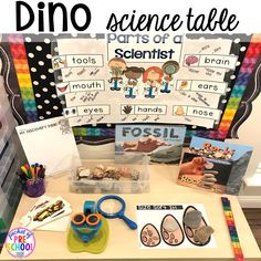 Dinosaur and rock science center plus tons of dinosaur themed activities & centers your preschool, pre-k, and kindergarten students will love! Science Center Preschool, Dinosaur Theme Preschool, Dinosaur Activities, Kindergarten Science, Preschool Themes, Preschool Classroom, Science Activities, Preschool Activities, Kid Science