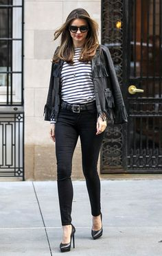Miranda Kerr | fringe + stripes in NYC #mirandakerr #style #stripes #leatherjacket