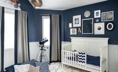 Project Nursery - Navy Blue and White Celestial Nursery - Project Nursery