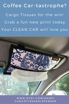 Cargo Tissues + Dispenser for the car's sun visor, soft enough for little noses, strong enough for most mobile messes. cargo car tissues dispenser holder sun visor quick cleanup minivan messes kids road trip clean wipe sticky coffee spills