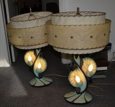 Vintage Pair Of Mid Century Retro Lamps W/ Shades Funky Estate Find