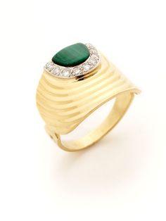 Vintage Malachite & Diamond Cigar Ring