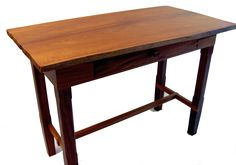 Custom Fine Furniture by: Leroy Douglas—artist signed & branded. A fine example. SOLD—Walnut side-table, one piece Mahogany top, w/ drawer—hand cut dovetail corners, Fir bottom panel, Cocobolo pull. (31½'' L x 16½'' W x 22¾'' H)  Linseed/Tung oil finish. $3900.00 http://www.OregonStudioWoodworking.com