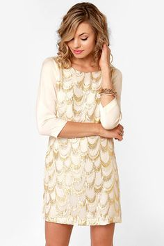 Cream and Gold Embroidered Silk Dress