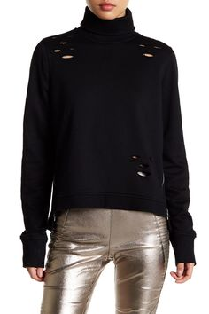 Distressed Zip Turtleneck Pullover