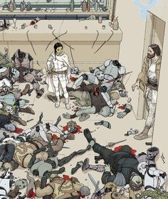 Drawing Comics Perhaps the greatest illustration of the aftermath of a Jedi battle - With works like and All-Star Superman, illustrator Frank Quitely has demonstrated his keen ability to make frenetic battles look downright graceful. Star Wars Fan Art, Star Wars Rpg, Comic Book Artists, Comic Artist, Comic Books Art, Character Drawing, Character Design, All Star Superman, Star Wars Personajes