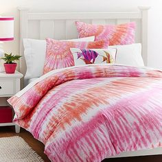 Surfers Point Tie Dye Duvet Cover + Sham, Pink Coral also Bethany mota favorite comforter in her new house she moved into Tie Dye Bedding, Teen Bedding, Cotton Bedding, Teen Bedroom, Bedroom Ideas, Surfer Bedroom, Bedroom Stuff, Bedroom Styles, Bedroom Decor
