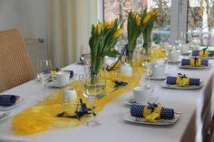 Tischdeko Kommunion gelb blau 03