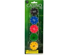 "Casino Poker Chips Set, 12 - Great for poker night or as currency for a variety of other games, this 20-piece Casino Chips Set features plastic Casino-inspired poker chips in five colors with five different values and playing card suit symbols printed around the edges. Chips measure approximately 1 1/2"" in diameter. For ages 3 and up. Comes packaged in a blister pack.-Colors: black,white,yellow,green,blue,red. Material: plastic. Weight: 0.174/unit"