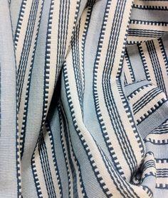"""""""Regatta Stripe"""" Blue - yarn dyed stripe in soft powdery blue, denim and ivory cream. 54"""" wide & 100% Cotton, Perfect for cushions, roman shades. ($19.95 per yard)  $29.95 $19.95 per yard"""