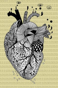 Geometric heart I love all the different patterns Arte Com Grey's Anatomy, Anatomy Art, Heart Illustration, Geometric Heart, Anatomical Heart, Human Heart, Heart Art, Amazing Art, Artsy