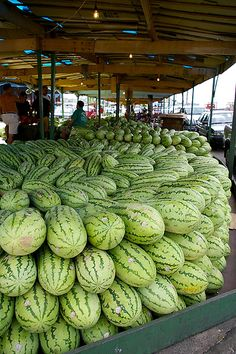 watermelons at the market, Manaus, Brazil Fruit And Veg, Fruits And Vegetables, Fresh Fruit, Produce Displays, Exotic Fruit, Delicious Fruit, Farmers Market, Watermelon, Around The Worlds