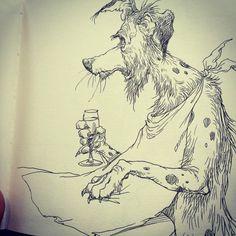 Dog. Random Drawings, Ink Pen Drawings, Comic Books Art, Book Art, Ink Illustrations, Art For Art Sake, Graphite, Art Reference, Concept Art