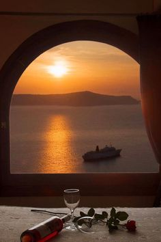 "zoegem-heartofanangel:  "" Sunset in Santorini, Greece with wine-perfect!  """