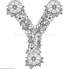 Free Download Floral Alphabet Letter Y Coloring Pages #coloring #coloringbook #coloringpages #floral
