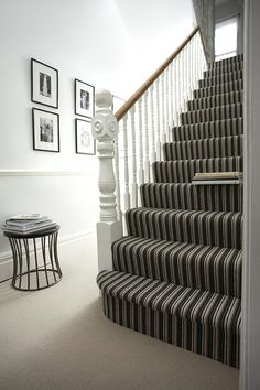 Stripy monochrome stairs at Michael John Flooring.