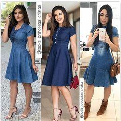 agda Fernandes💕 no Instagra Jean Dress Outfits, Dress Up Jeans, Chambray Dress, Fashion Wear, Modest Fashion, Girl Fashion, Fashion Dresses, Denim Attire, Short Frocks