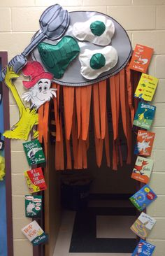 Dr Seuss Decoration Ideas Awesome Green Eggs & Ham Door Decor Reading You are in the right place about dr seuss crafts ideas Here we offer you the most beautiful pictures about the dr seuss crafts wha Dr. Seuss, Dr Seuss Week, Classroom Door, Classroom Themes, Preschool Classroom, Dr Seuss Decorations, Dr Seuss Bulletin Board, Dr Seuss Activities, Children Activities