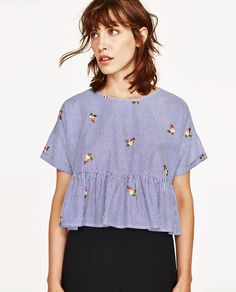 EMBROIDERED STRIPED TOP-Blouses-TOPS-WOMAN   ZARA United States
