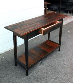 One Drawer Custom Console Made From Reclaimed Wood By Landrum Tables  Http://www