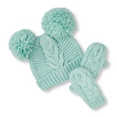Baby Girls Toddler Sparkle Cable Pom Pom Beanie And Mittens Set - Blue Hat  - The bf8c36fd4850