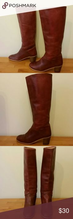 Leather Fall Boots / Boho/ Hippy / Vintage Boots Gorgeous brick red vintage boots in nice pre loved condition.  Leather. Size 39 marked on bottom, but run small and fit an 8.5 more, not a 9. That is why I marked them as 8.5 in the listing, please be aware of this.  Calf measurement is approximately 15 inches ( about the fit of a Hunter boot).  Heel height is approximately 2 inches.  ✔These are priced to sell :)! Shoes Heeled Boots