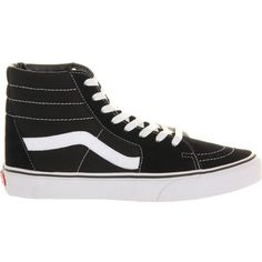 VANS Sk8 high-top trainers ($81) ❤ liked on Polyvore featuring men's fashion, men's shoes, men's sneakers and black white canvas