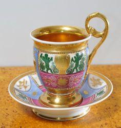 Rare-Antique-Russian-Empire-Grand-Porcelain-Cup-Saucer-by-Batenin-1820-s