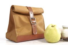Yellow lunch bag. Lunch box. School lunch bag. Waxed canvas and leather lunch bag. Picnic bag. Vintage style lunch bag.