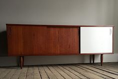 refinished painted teak mid-century modern media console credenza watco danish oil red mahogany_blue.lamb furnishings