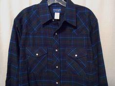 WRANGLER Flannel Pearl Snap Shirt Men Sz Large Plaid Green/Blue Western Long Slv #Wrangler #Western