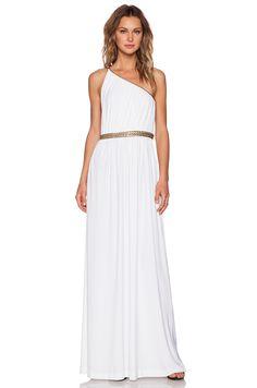 RACHEL ZOE Lillith Shirred Toga Maxi Dress in White | REVOLVE