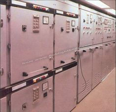 Section of the main switchboard. RMS Queen Elizabeth Cunard Line. Ship Mast, Rms Queen Elizabeth, Gas Boiler, Steam Turbine, Electric Motor, Diesel Engine, Fresh Water, Signage, Locker Storage