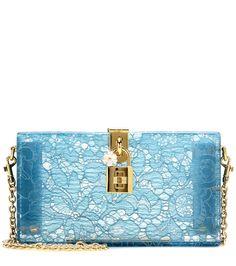 Blaue Boxclutch Dolce aus Plexiglas mit Taormina-Spitze By Dolce & Gabbana