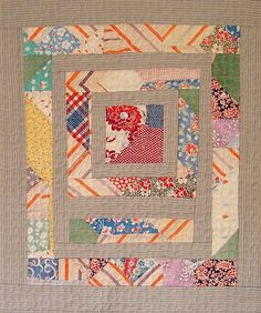 Recycled Quilt by Victoria Gertenbach uses pieces of a worn vintage quilt and old ticking material Old Quilts, Antique Quilts, Scrappy Quilts, Small Quilts, Mini Quilts, Vintage Quilts, Baby Quilts, Vintage Textiles, Quilting Projects
