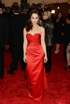 Emilia Clarke in Ralph Lauren at the Met Gala. Styled by Kate Young. Makeup by Hung Vanngo for Calvin Klein. Hair by Sarah Potempa.