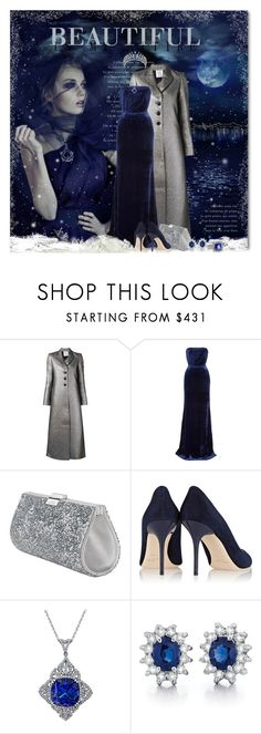 """""""Dark Winter Night"""" by petri5 ❤ liked on Polyvore featuring Rosie Assoulin, Victoria Beckham, Swarovski, Jimmy Choo, Mellerio and Magnum"""