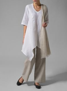 Linen Handkerchief Hem With Straight Leg Pants Set