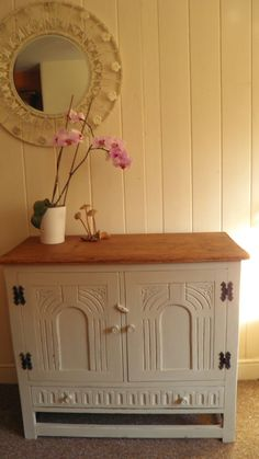 VINTAGE French Country style Solid OAK Sideboard Cupboard Drawer SHABBY CHIC