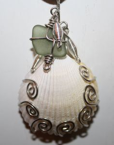 wire wrapped sea shells | Wire Wrapped Sea Glass Sea Shell Necklace 100% Authentic Sea Glass