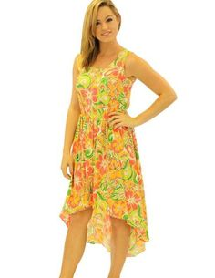 1a93eb9dda Mid-Length High Low Rayon Fabric Dress - Retro 70 s Islander