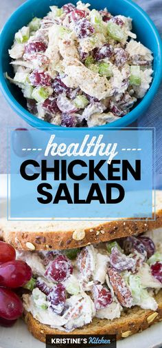 The best easy, healthy chicken salad recipe! This healthy chicken salad sandwich is made with grapes and Greek yogurt for a lighter lunch. A simple take on classic chicken salad that you can make ahead. Canned Chicken Salad Recipe, Low Carb Chicken Salad, Best Chicken Recipes, Healthy Chicken, Chicken Salad With Grapes Recipe Easy, Greek Yogurt Chicken Salad, Healthy Salad Recipes, Healthy Eats, Healthy Dishes