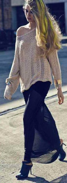 Slouchy sweater and long sheer skirt with stiletto mules.
