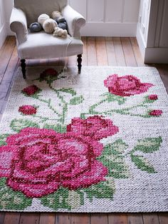 Floral Leather Tapestry Rug NEW - Rugs, Cushions & Throws - Decorative Home - Home Floral Leather Tapestry Rug - could you single crochet and then cross stitch over? Floral Leather Tapestry Rug woweeeeeee this is divine xox Amazing Cross Stitch Rug ~~She Cross Stitching, Cross Stitch Embroidery, Embroidery Patterns, Cross Stitch Patterns, Tapestry Crochet, Cross Stitch Flowers, Crochet Home, Rug Hooking, Handmade Home