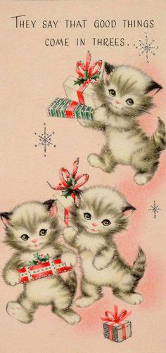 1960s Christmas card kittens